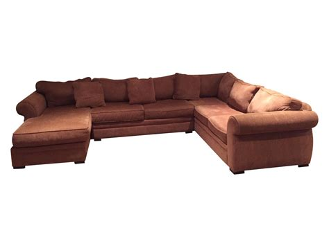 large brown sectional sofa chaise chairish