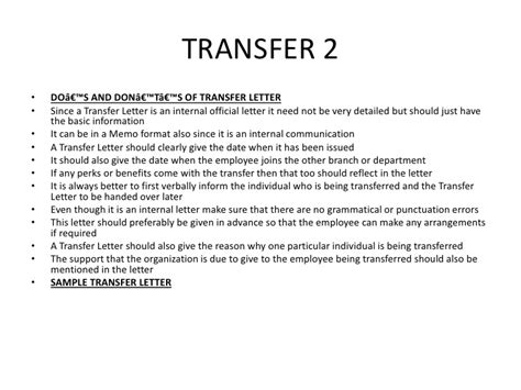 Employee Transfer Letter To Another Department Bsnsletters