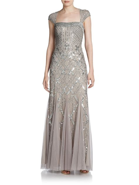 beaded gown papell beaded portrait collar gown in gray