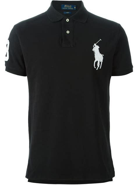 Poloshirt Ralflauren lyst polo ralph logo embroidered polo shirt in black for