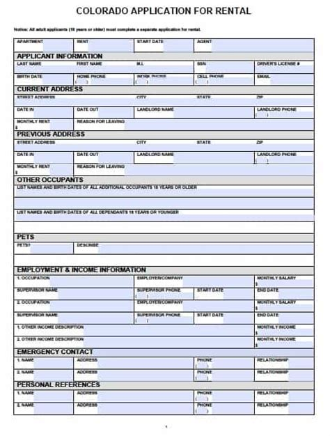 Free Colorado Rental Application Pdf Template Free Rental Application Form Template