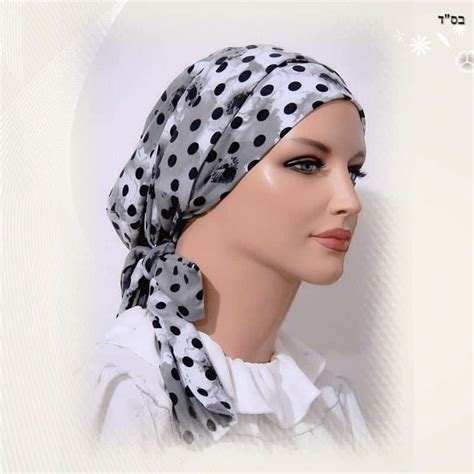 fitted scarf sinar style gray dots floral modest anytime