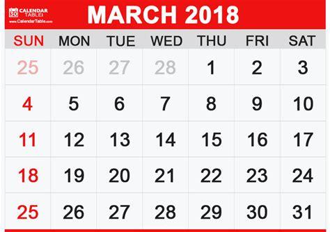 Calendar Of March 2018 Printable March 2018 Calendar Calendar Table Calendar Table