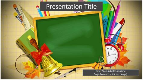 free school supplies cartoon powerpoint template 6498