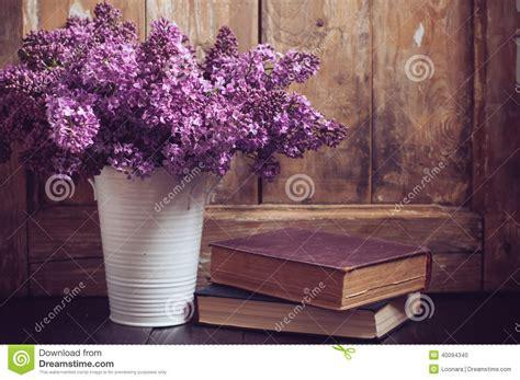 vintage bouquet  lilac flowers stock photo image