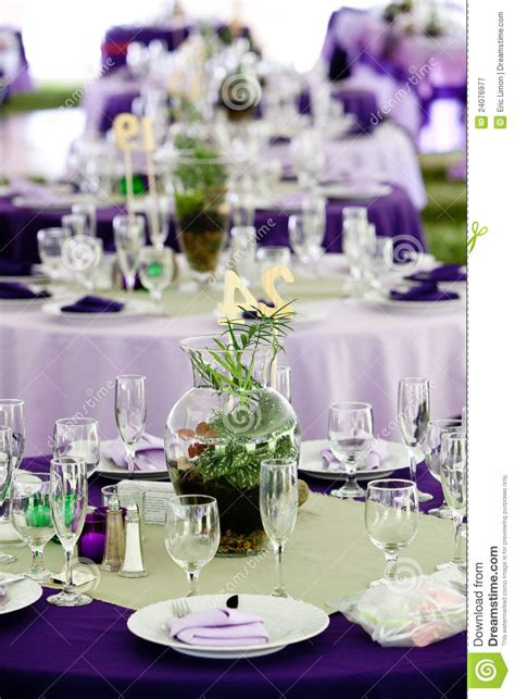 wedding tables  green  purple royalty  stock