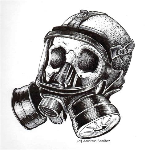 drawn tattoo gas mask pencil and in color drawn tattoo
