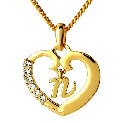 Home Design 3d Gold Help by Name Necklace Initial Love Heart Pendant Letter N 18k Gold