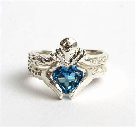 Blue Topaz Garnet claddagh wedding set white gold and blue topaz