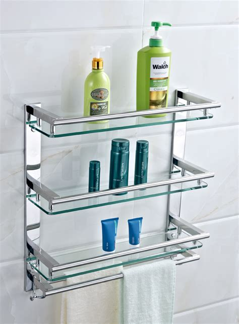 Stainless Steel Bathroom Shelves by Bathroom Shelf 304 Stainless Steel Glass Storage Rack