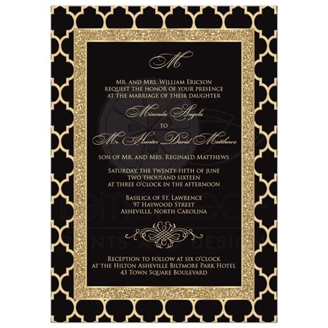 Wedding Invitations Black And Gold by Monogrammed Wedding Invitation Black Gold Quatrefoil