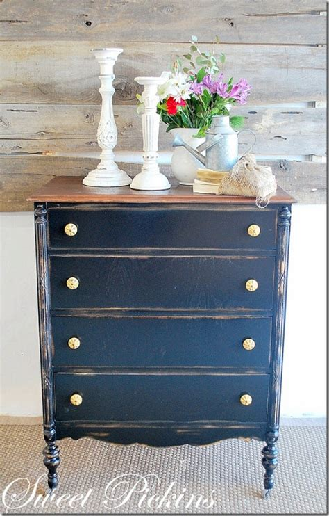 How To Paint A Dresser Distressed by Navy Gold Repainting Distressing Furniture