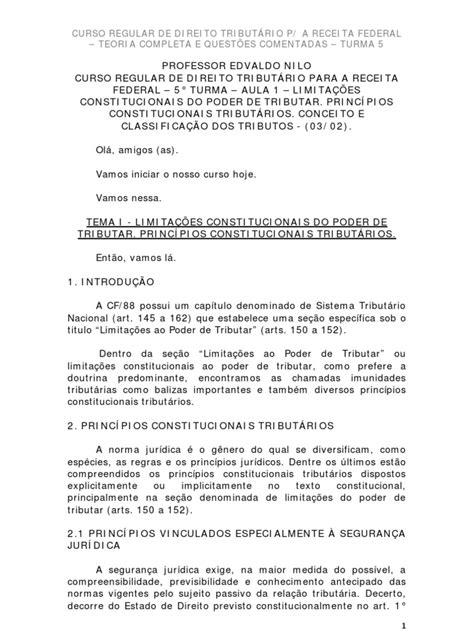 Aula 01 CURSO REGULAR DE DIREITO TRIBUTÁRIO P/ A RECEITA