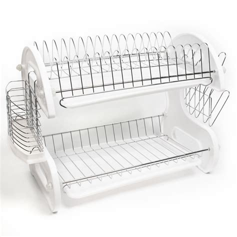 Rak Piring Stainless 2 Layer Dish Rack Stainless 2 Tingkat home basics white 2 tier kitchen sink dish drainer set ebay