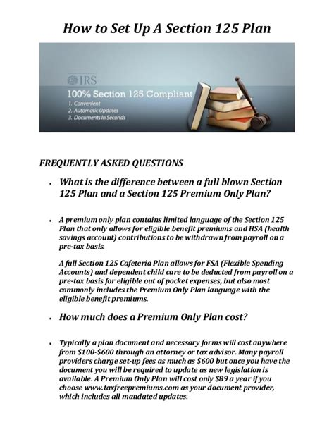 how to set up a section 125 cafeteria plan tax free premiums section 125 plan document