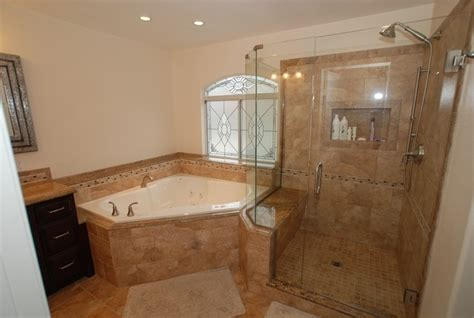 corner bath and shower corner tub shower seat master bathroom reconfiguration yorba traditional bathroom