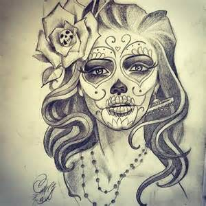 nice skull in flower with nice beautiful catrina face