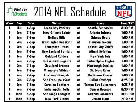 printable nfl schedule pdf 2016 printable full nfl schedule weekly calendar