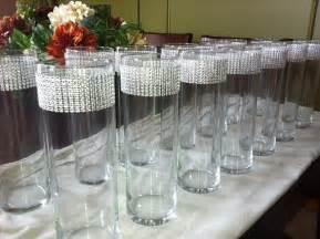 set of 15 silver rhinestone wrap glass cylinder vases wedding