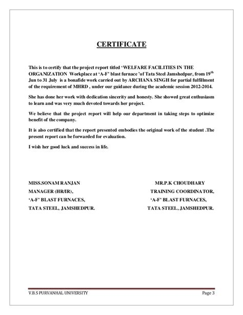 fit to fly certificate template report on welfare of tata steel
