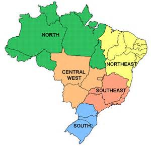 5 regions of map basic brazil