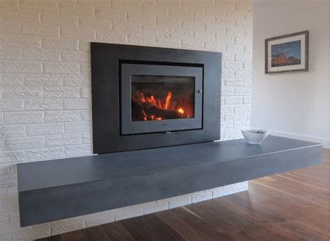 Grey Kitchens concrete pete floating concrete hearth