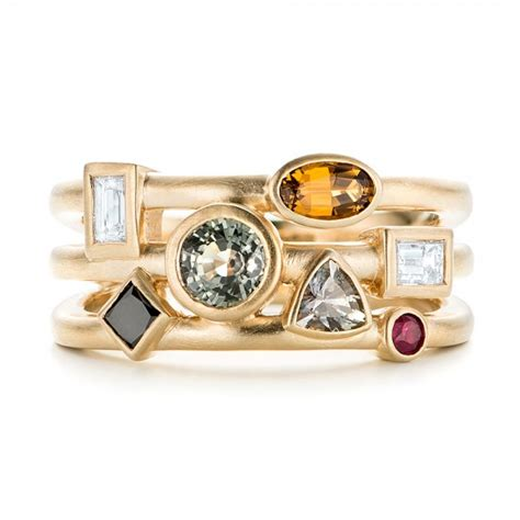 custom multi color gemstones and yellow gold engagement ring