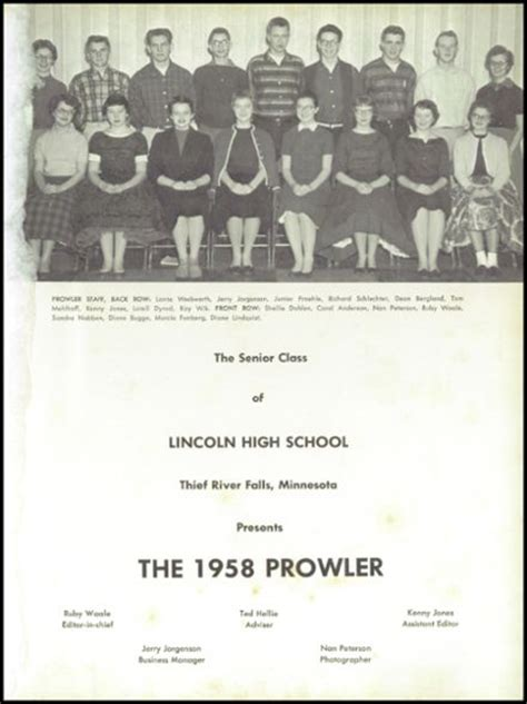 lincoln high school mn explore 1958 lincoln high school yearbook thief river