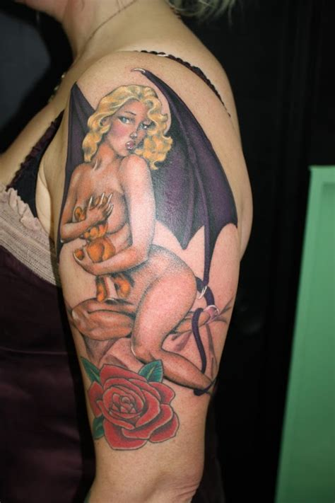 pin up tattoo angel pin up girl tattoo mar namakubi tattoo the