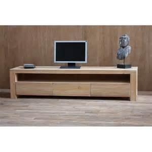 meuble tv gary en teck naturel massif 1 niche et 3