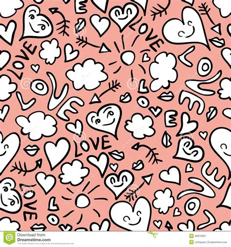 doodle romantis seamless pattern with doodles royalty free stock
