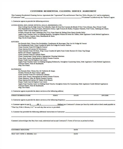 cleaning services agreement template sle cleaning service agreement commercial cleaning