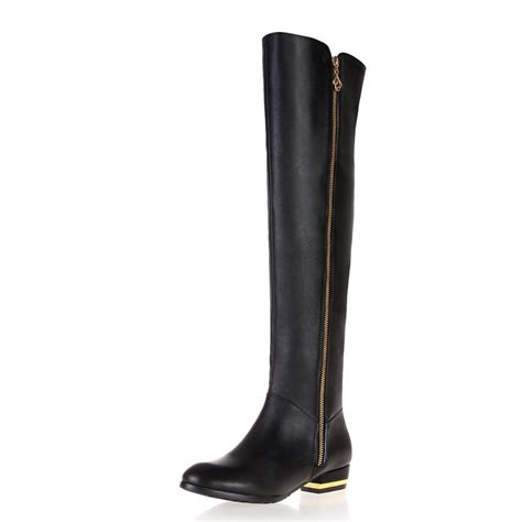 knee length boots genuine leather boots high leg low