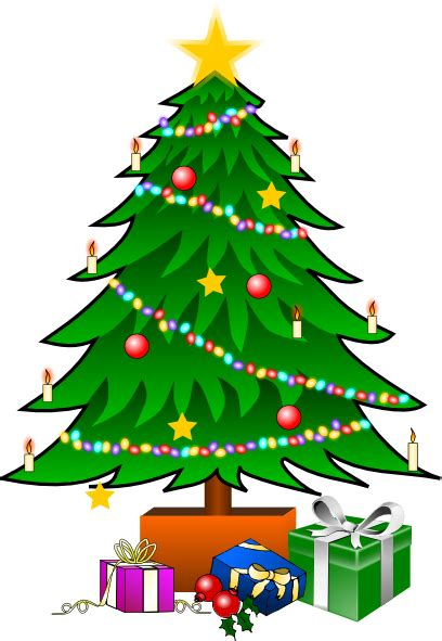 christmastree with gifts clip art at clker com vector
