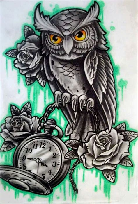 owl tattoo flash owl with clock n flash ideas