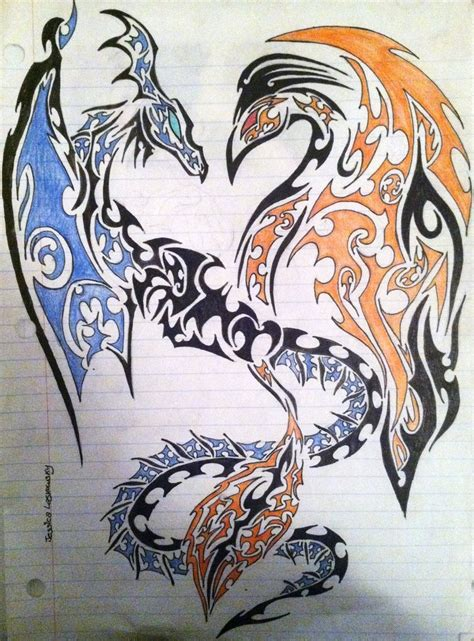 dragon and phoenix tribal art design by