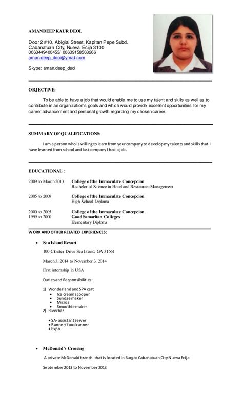 resume format for hotel management students sle resume for hotel and restaurant management