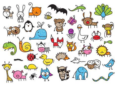 imagenes de animales con w los dibujos del ni 241 o de animales ilustraci 243 n del vector