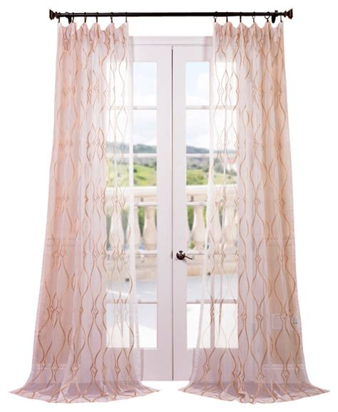 Sheer Gold Curtains Contessa Gold Embroidered Sheer Curtain Contemporary Curtains By Half Price Drapes