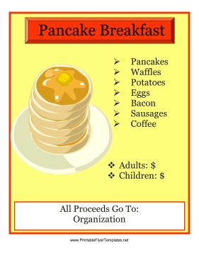 8 Best Images Of Pancake Printable Template Pancake Breakfast Fundraiser Flyer Template Breakfast Flyer Template