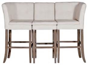 cooper conrad tufted linen square linen 3 seat bench bar stool transitional bar stools and