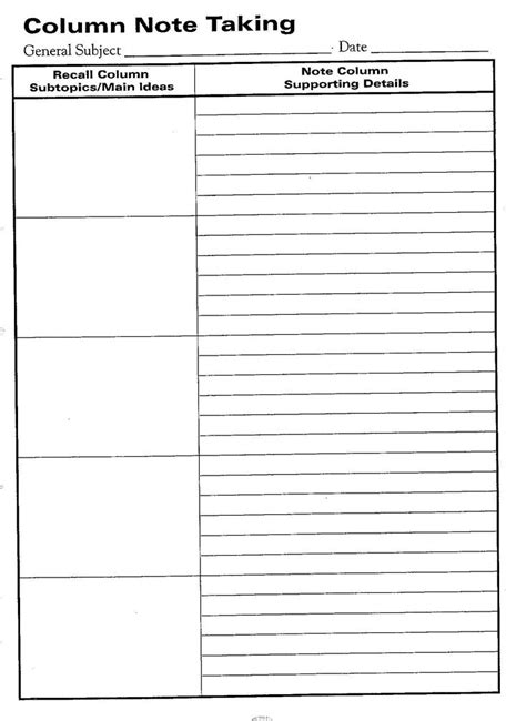 template cornell notes template