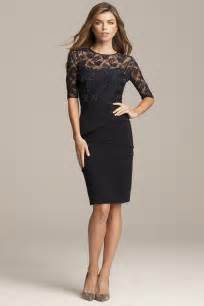 Sleeve navy cocktail dress with beaded lace top teri jon