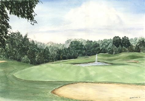 eight green the trails golf course painting by lane owen