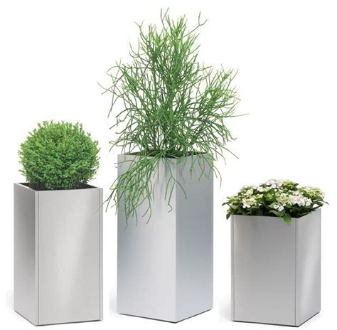 stainless steel outdoor planters modern patio