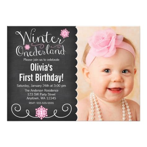 Birthday Photo Cards Whimsical Winter Onederland Photo First Birthday