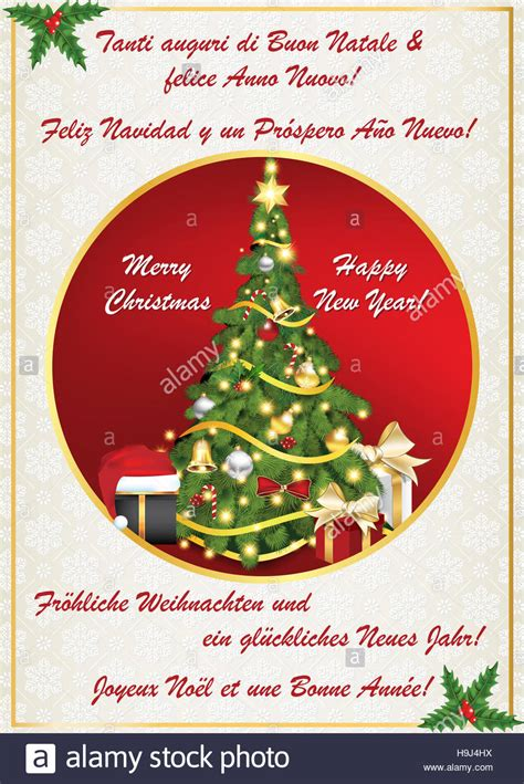 new year greeting card 2017 in many languages text