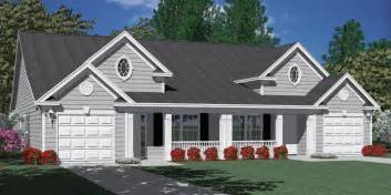 Duplex With Garage Plans by Southern Heritage Home Designs Duplex Plan 1392 D