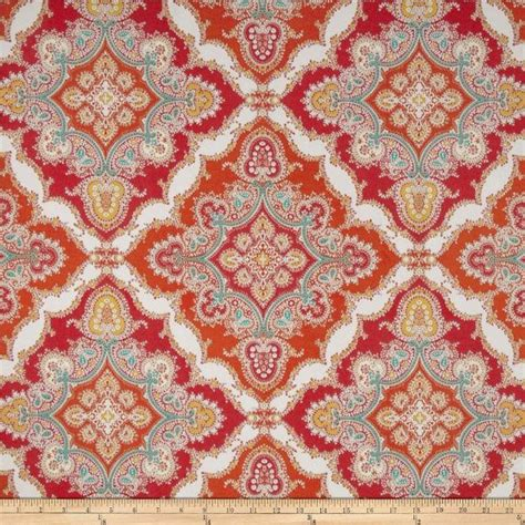 orange and red curtains red orange turquoise yellow and white medallion pillow