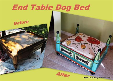 dog bed out of end table hand painted turquoise dog bed from an end table with floral and dot painted fabric
